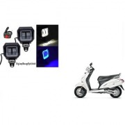 KunjZone Sqaure Aux Lamp/Fog Lamp White&Blue Drl Set Of 2 For Honda Activa 3G