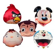 Vinayaka Soft Toy Cushions TV Cartoon Shape (Set of 5 Different Cartoon Characters) Velvet Material with Fiber Filling