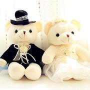 New 2017 Latest Designed 2pcs/pair 20cm Couple Bear Wedding Teddy Bear Plush Toys[Yellow]