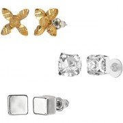 GoldNera Antique Silver Stud Earrings Solitaire Leaf Flowery Designs Set of 3 For Girls (STYLE 8)