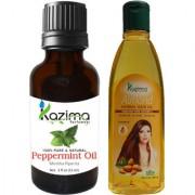 KAZIMA Combo of Peppermint Oil 15ML and Almond Herbal Hair Oil 100ML Reduces Hair Fall Hair loss control & Hair Growth