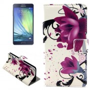 Purple Flowers Pattern Horizontal Flip Leather Case with Holder & Card Slots for Samsung Galaxy A7 / A700F