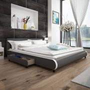 vidaXL Estrutura cama c/ gavetas 180x200cm couro artificial cinzento