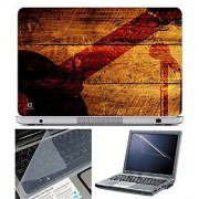 FineArts Laptop Skin - Guitar Mic on Wooden With Screen Guard and Key Protector - Size 15.6 inch