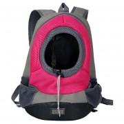 Mochila Para Transportadoras Mascotas Con Bolsillos De Lona - Rosa
