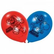 Ballonnen Super Mario blauw rood