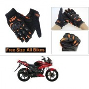 AutoStark Gloves KTM Bike Riding Gloves Orange and Black Riding Gloves Free Size For Hero Ignitor