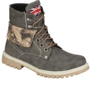 Wave Walk MenS Grey Casual Lace-Up Boots (BOMBER-8-GREY)