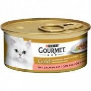 Gourmet Gold Chat tendres bouchées Saumon et Poulet 2 x 24 boites
