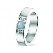 Ring van zilver met vierkante askamer + zirkonia