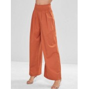 ZAFUL Pantalon Simple Jambe Large à Taille Haute Orange vif XL