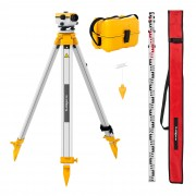 Automatic Level - with tripod and level staff - 20x magnification - 34 mm lens - deviation 2.5 mm - air damped compensator