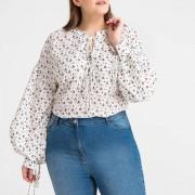 CASTALUNA Bluse mit langen Ärmeln und Blumendruck