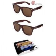 Ediotics Set of 2 Classic Brown Wayfarer Style Designer Sunglasses for Men Alumi Wallet Combo