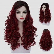 rosegal Noble Long Synthetic Fluffy Curly Fashion Black Ombre Dark Red Cosplay Wig For Women