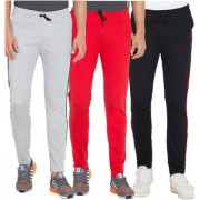 Cliths Men's Active-wear Joggers Track Pants Combo Pack Of 3 (Light Grey Red Black)