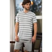 Pijama Masculino Adulto Mixte Camiseta Listrada e com Shorts em Modal