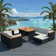 vidaXL Set mobilier de grădină, 32 piese, poliratan, blat WPC, negru