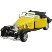 DealBindaas Die Cast Metal 132 Classic Antique Car Model Pull Back Action Opening Doors Dinky Car Toys Children Gift Collection Yellow