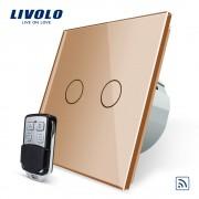 Intrerupator LIVOLO cu touch dublu wireless telecomanda inclusa, auriu
