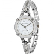 RIDIQA Analog Crystal Studded WHITE Dial Stainless Steel Wrist Watch ForGirls Women-RD-075