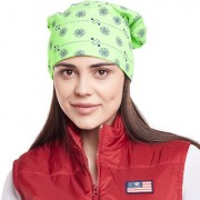 Vimal-Jonney Green Printed Cotton Beanie Cap For Women