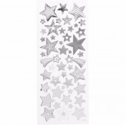 Merkloos Sterren stickers zilver kerst 52 stuks