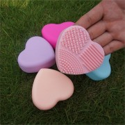 Silicone Heart Shape Makeup Brush Cleansing Pad Mat Tool