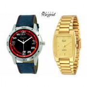 Mark Regal Denim Leather Strap+Golden Metel Men's Analog Watches Combo Of 2