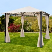 Intent24.fr Tonnelle de jardin 3x3m Polyester pelliculé polyuréthane 280 g/m² champagne imperméable