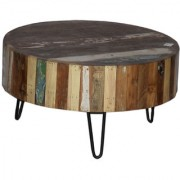 Pincha Art & Crafts Brown & Black Color Wooden + Iron Coffee Stool