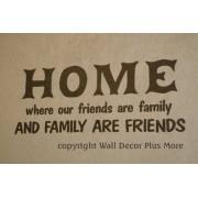 WALL DECOR PLUS MORE WDPM2636 Friends Are Family, Family Are Friends Vinyl Wall Decal Quote 30 x 11 Inch Chocolate Brown
