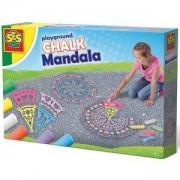 Детски комплект за рисуване върху земя, Мандала с тебешири, SES, 080940