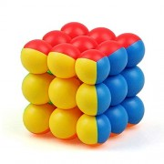 WOXZ 3x3x3 Round Bead Ball Magic Speed Cube Stickerless Puzzle Colorful Cube,(Multi Color)-(1Piece)
