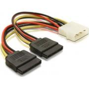 Kabel DELOCK, 4-pin Molex (M) na 2x 15-pin SATA (M), naponski, interni