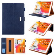 Multiple Viewing Foldable Stand Leather Wallet Tablet Case for iPad 10.2 (2019) - Dark Blue