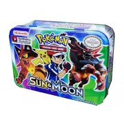 Emob Go Sun and Moon Burning Shadows Trading Card Game Multicolored Cartoon Metal Tin Pack with 51 Cards 19 Additional Cards