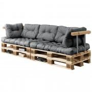 [en.casa]® Sofá de palés - europalés de 3 plazas con cojines - (gris claro) Set completo, incluidos apoyabrazos y respaldos