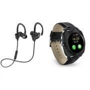 QC 10 bluetooth Headset and X3 smart watch with sim card and memory card slot||Wireless || Wireless Headphone || Bluetooth Stereo Headphone ||Travelling Headphones AEJ_381