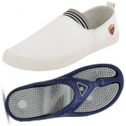 Clymb MR-1 White +Relex-2 Navy Grey Combo Pack Of 2 Shoes Acupressure Slippers For Men's In Various Sizes