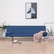 vidaXL Разтегателен диван с две възглавници, син, полиестер