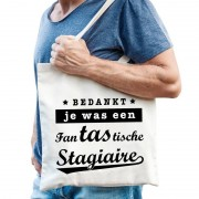 Shoppartners Katoenen cadeau tas/shopper fantastische stagiaire naturel heren