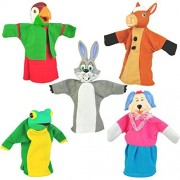 "Set of 5 Animal Hand Puppets 10"" VINYL HEADS Forest Animals"
