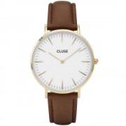 CLUSE La Boheme Gold White/Brown horloge CL18408