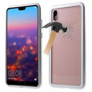 Huawei P20 Pro Magnetic Case with Tempered Glass Back - Silver