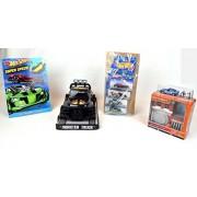 Monster Trucks 4 pc Hot Wheels Match Box Car Racing Truck Bundle Collection Hot Wheels by Mattel