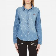 Superdry Women's Denim Printed Shirt - Feather Print - S/UK 8 - Blue