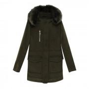 Manteau mi-long avec capuche, en drap de laine