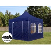 3x3m összecsukható pavilon ablakos kék Prémium (Premium)
