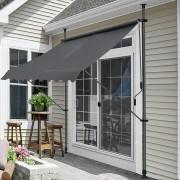 [pro.tec]® Napellenző - Szürke - 300 x 120 x 200-300 cm - feltekerhető napellenző terasz erkély árnyékoló